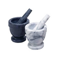 4'' Black Marble Mortar & Pestle