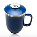 Steepin' Mugs Blue Sky Porcelain Cup with Handle, Infuser & Saucer