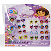 Dora The Explorer Sticker Earrings & Ring Set -