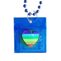 Beads Condom Image of a rainbow flag in a heart shape -