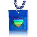 Beads Condom Image of a rainbow flag in a heart shape